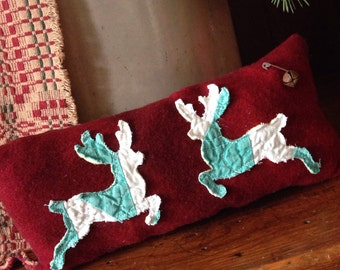 Primitive Christmas Reindeer Pillow Tuck~ Bowl filler~ barn red and green~ hand dyed wool~ christmas decor~ prim~ vintage quilt~ ooak