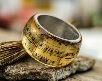 Music Notes Resin Bangle. Classical Composition of Mozart symphony 40. Statement bangle. Resin bracelet original design