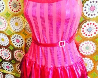 Vintage Hot Pink Metallic Skirted Leotard Dance Costume with Gemstone Accents. Majorette, Tap, Jazz, Circus, Candy, Barbie. Adult XS/S