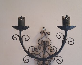 Vintage Wrought Iron Wall Sconce Medieval Gothic Wall Decor Black Home Decor