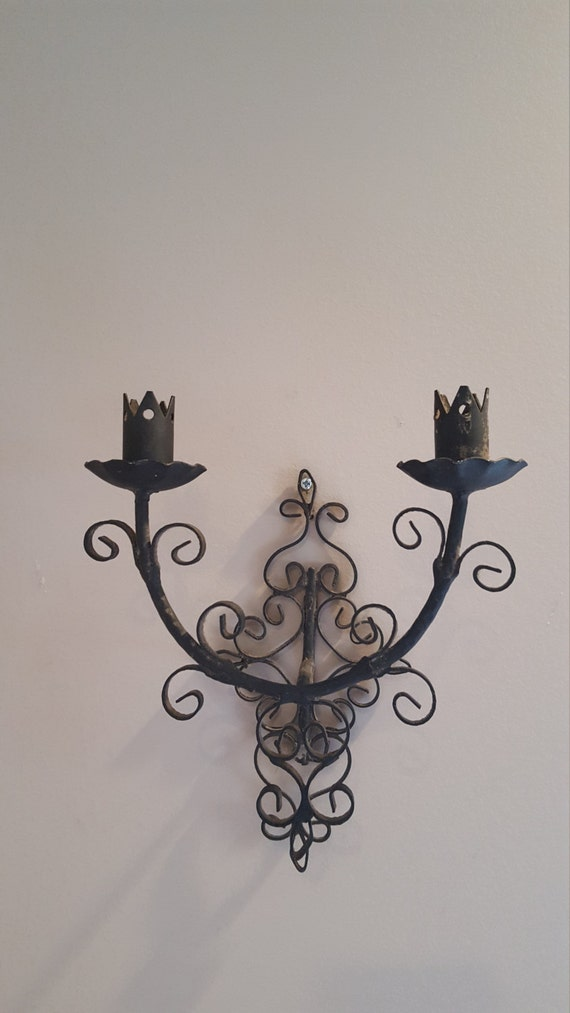 vintage wrought iron wall sconce medieval gothic wall decor