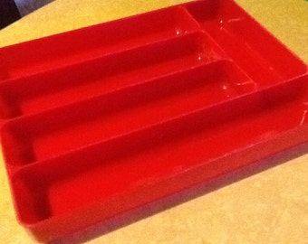 Red Sivlerware Tray Lustreware Vintage