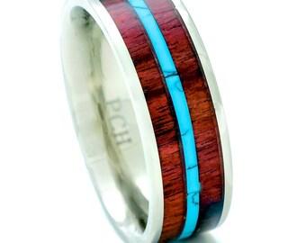 Titanium Hawaiian Koa Wood and Turquoise Wedding Band Ring 8mm Comfort Fit