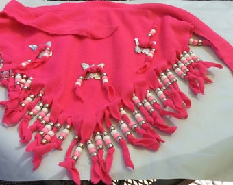 Western style hot pink soft fleece scarf accented with 3 butterfly conchos,  silver, white and pink beads.