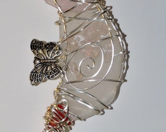 Sea Glass Silver Wire Wrapped Seahorse #2