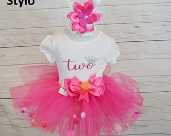 second birthday outfit, FREE SHIPPING, birthday outfit,birthday girl outfit, second birthday tutu,hot pink glitter tutu,girl birthday outfit