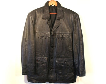 Vintage Black Genuine Leather Coat, Fully Lined, Soft Leather, Men's size S
