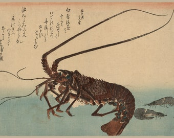 Japanese Art. Fine Art Reproduction. Hiroshige: Fish - Shrimp and Lobster, c. 1835 - Fine Art Reproduction