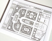 Antique French Garden Plan with Pavilion In Sepia  Archival Print