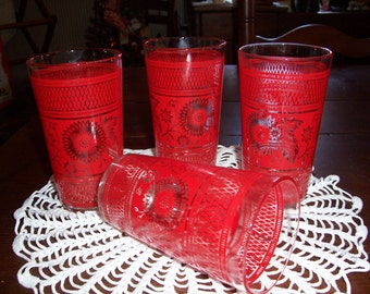 1960's Retro Kitchen Glassware..Red Beveled Glass Drinking Glasses...Set of 4...Very Retro...Very Cool...