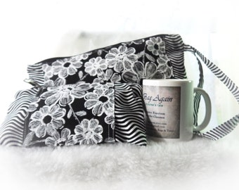 Pouch Set, Zippered Pouch Set, Black and White Pouch Set, Cotton Pouches, Make up Bags, Cosmetics Pouch Set
