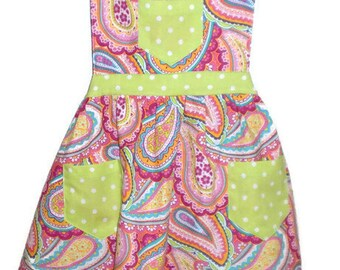 Children's Apron, Toddler apron, Girls Apron, Baking Apron, Cooking Apron, Paisley Apron, Kids Apron, Little Girls Apron, Pink Apron