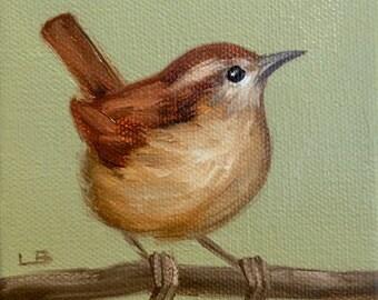 Original Oil Painting Tiny Wren