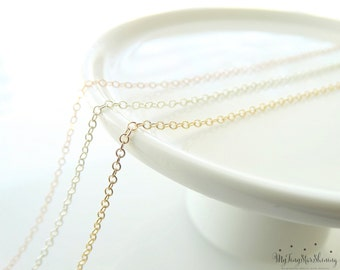 Sterling Silver Necklace Chain Gold Filled Necklace chain  Rose Gold Filled Necklace Chain Finished - Create your own Necklace