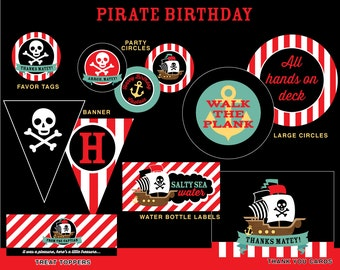Pirate Birthday Party Package, INSTANT DOWNLOAD, Pirate Birthday
