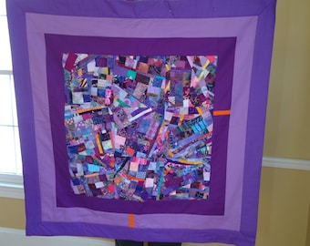 LAVENDER FIELDS//A Fine Art Quilt Collage Wallhanging