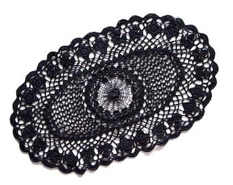 Oval black Crochet doily, vintage hand dyed Doily, Table decor, crochet centerpiece, Cotton Lace Doily, recycled