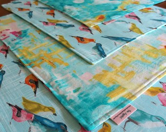 Bird Placemats (4) and Abstract Art in Aqua Blue, Reversible Cloth Place Mats, Table Mat, Laura Gunn Flutter Vignette Reflecting Pool