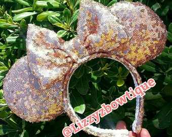 Rosegold Sequin Minnie ears Pick any color sequin bow