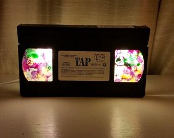 """Upcycled """"TAP"""" Movie VHS Tape LED Light Mood Lighting, Night Light, Bookshelf Light, Pendent Light"""