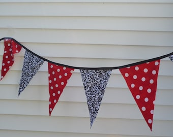 Pennant Banner, Mickey Birthday Banner, Ready to Ship,  Minnie Birthday Pennant, Fabric Red and Black Pennant Banner