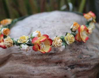 Tropical punch flower crown headband