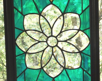 Stained Glass Beveled Glass Flower Panel