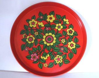 Mid Century Mod Serving Tray, Vintage Red Metal Plate, Flowers Hippie Boho, Party Picnic