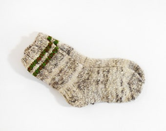 Hand Knitted Dog Wool Socks - Brown, Beige, Grey, Size Small
