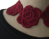 Red Roses Embroidered Necklace