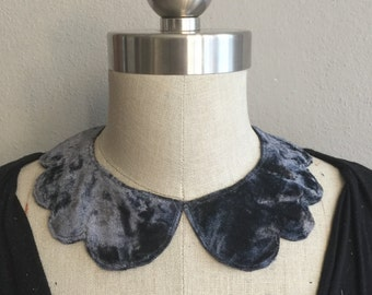 Slate Blue Velvet Scallop Collar Necklace with Jewelry Closure Back