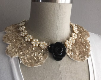 Black and Gold: Scallop Collar Necklace with Pearl detail and Black Sculptural Rose Embellishment with Jewelry Clasp Closure