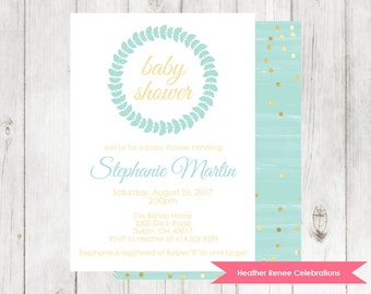 Baby Boy Shower Invitation | Aqua Shower Invite with Gold Glitter | Printable Baby Sprinkle Invite