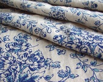 Victorian Flower Blue,Victorian Flower Print,Linen Clothing,Linen Bedding,Linen Shirts,Linen Tea Towels,Linen Curtains,Garment Weight Linen