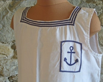 French sailor top size S vintage naval linen top