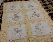 Vintage baby blanket quilt hand embroidered with nursery rhymes -crib quilt-linen-wall hanging-hand stitched-nursery decor