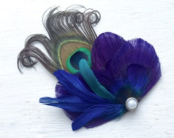 JANELLE -  Purple, Turquoise, Royal Blue Peacock Feather Hair Clip