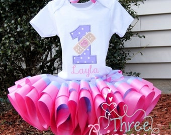 Doc McStuffin Ribbon Tutu Embroidered Shirt Bow Complete Outfit Wavy Tutu