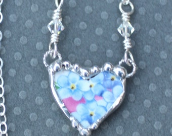 Necklace, Broken China Jewelry, Broken China Necklace, Petite Heart Pendant, Forget Me Not, Sterling Silver Chain, Soldered Jewelry