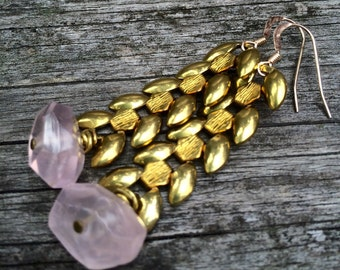 Faceted Rose Quartz stones and vintage brass wheat chain pink earrings