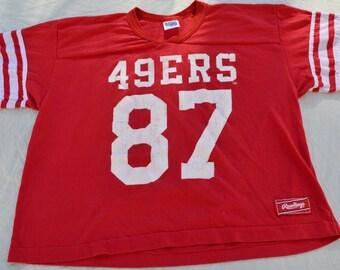 "Vintage San Francisco 49ers Jersey 50/50 T-Shirt Size L Rawlings NFL Football ""87"" #87"