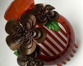 matilda's big hair clip - new flower brown