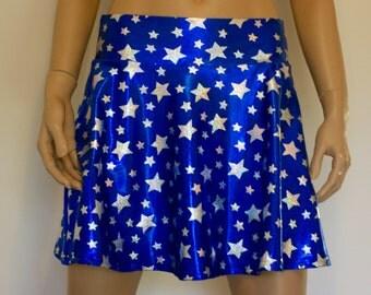 Blue and Silver Star twirl skirt, rave skirt, cheerleader, soft spandex short skirt, free shipping in Australia