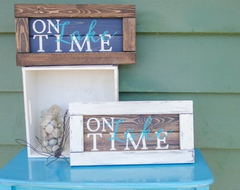 """Rustic Wood Sign, """"On Lake Time"""", Cabin Decor, Lake House Wall Art, Hand Painted Sign, Wood Sign"""