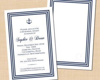 Nautical Navy Stripes Rehearsal Dinner Invitation (4x6): Text-Editable in Microsoft® Word, Printable on Avery® Postcards, Instant Download