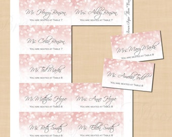 Pink Blush Glitter Escort Cards (3.5x2): Text-Editable in Microsoft® Word, Printable on Avery® Business Card Products, Instant Download