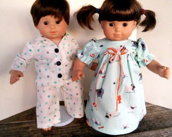 "American Girl 15 ""Bitty Twins Doll Clothing - Pugs and Polka Dots Cotton Pajamas PJ's for Boy and Girl"