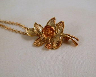 Vintage Avon Burnished Rose Necklace / Gold and Rose Gold Convertible Pendant or Brooch / Original Box, New Old Stock 1970s Avon Jewelry