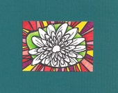 ACEO, Flower,  Original Drawing, Art Trading Card, ATC, Trading Card, Hand Drawn