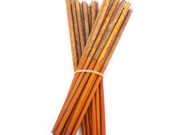 Vintage Bamboo Chopsticks Wood Engraved Aluminum Tips Asian Oriental Decor Chinese Etchings Round Wooden Wood Utensils